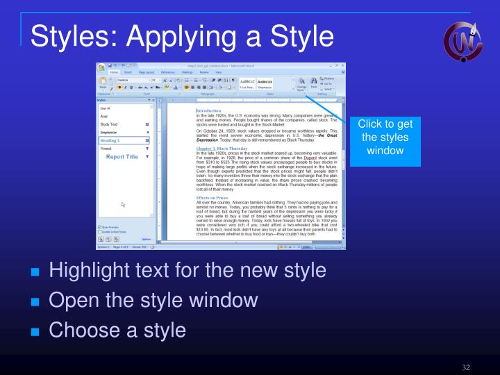 Styles: Applying a Style