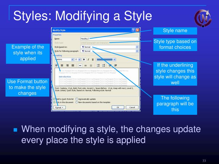 Styles: Modifying a Style