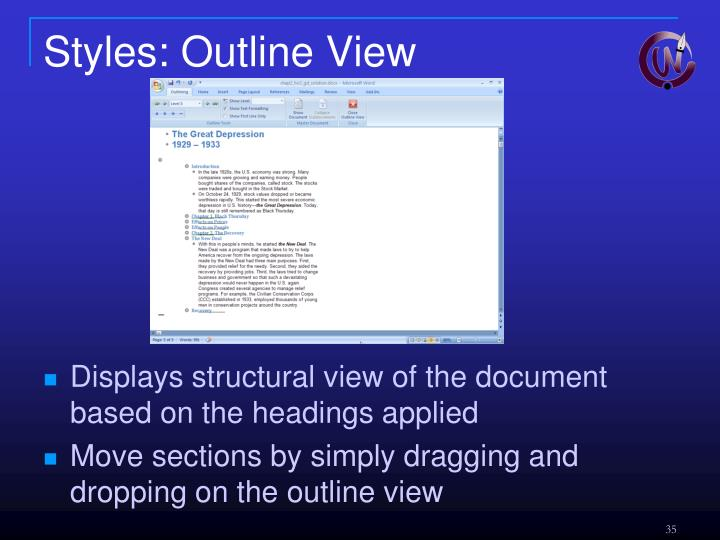 Styles: Outline View
