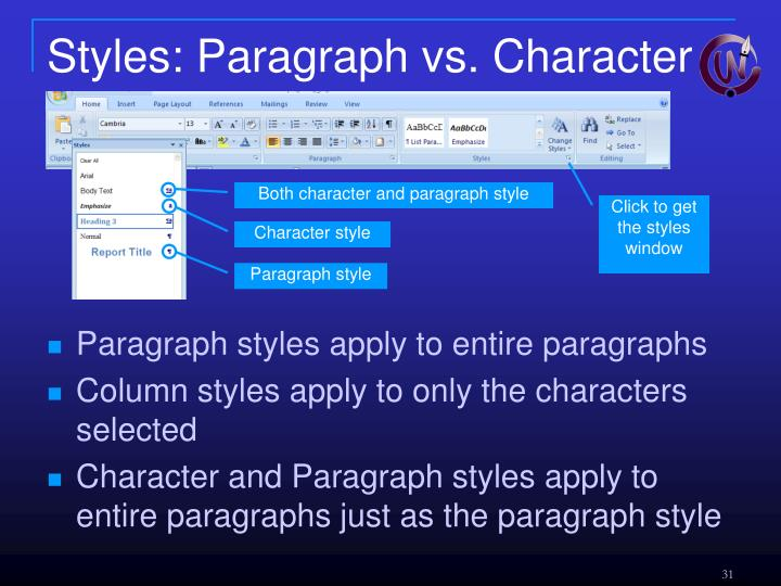 Styles: Paragraph vs. Character