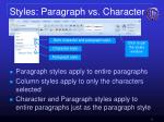 styles paragraph vs character