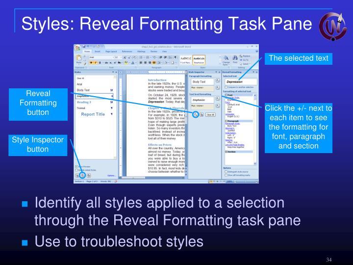 Styles: Reveal Formatting Task Pane