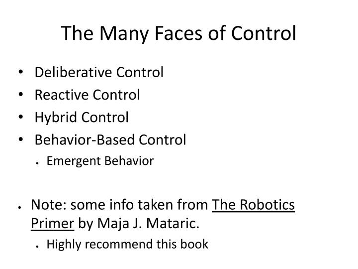 The Many Faces of Control