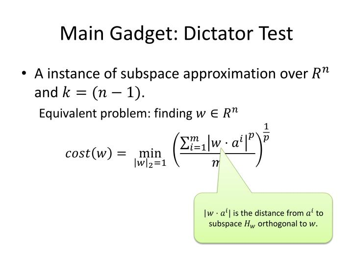 Main Gadget: Dictator Test