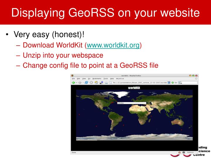 Displaying GeoRSS on your website