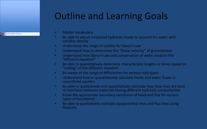 Outline and Learning Goals