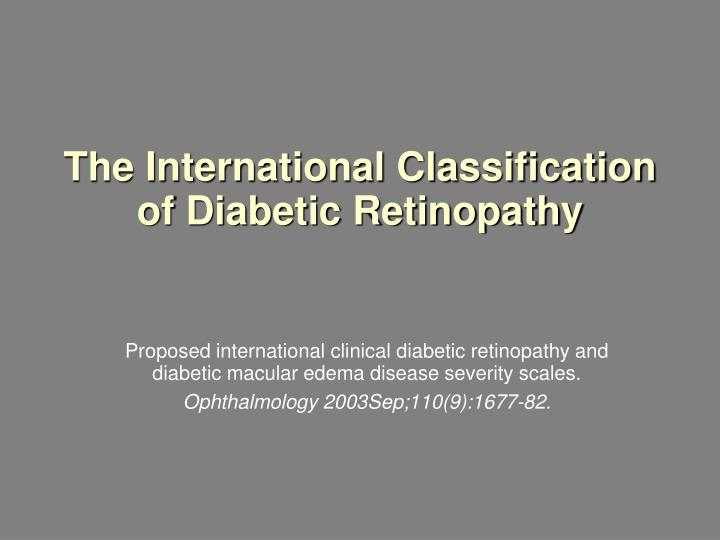 The international classification of diabetic retinopathy