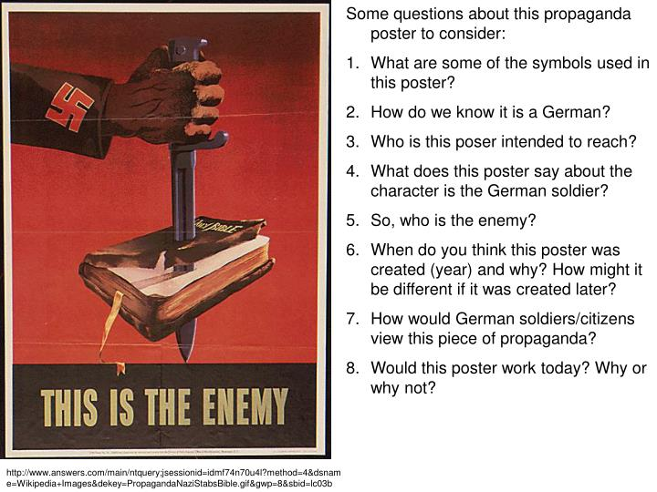 Some questions about this propaganda poster to consider: