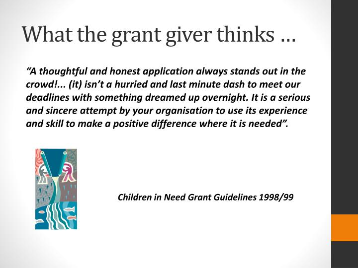 What the grant giver thinks …