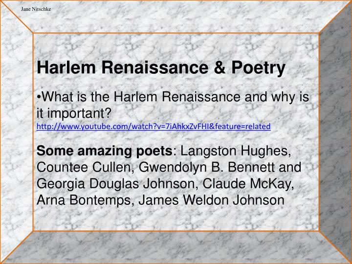 Harlem Renaissance & Poetry