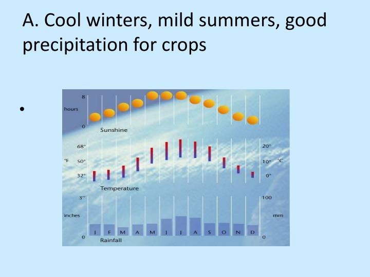 A. Cool winters, mild summers, good precipitation for crops