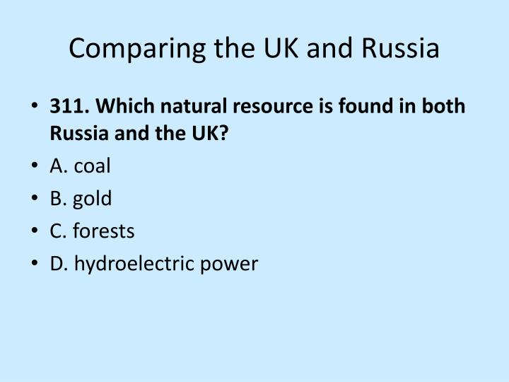 Comparing the UK and Russia