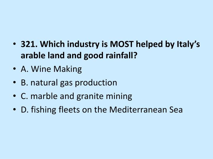 321. Which industry is MOST helped by Italy's arable land and good rainfall?