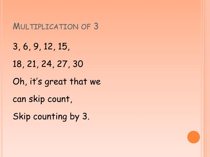 Multiplication of 3
