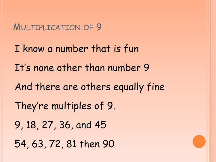 Multiplication of 9