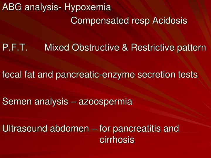 ABG analysis- Hypoxemia