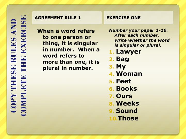 AGREEMENT RULE 1
