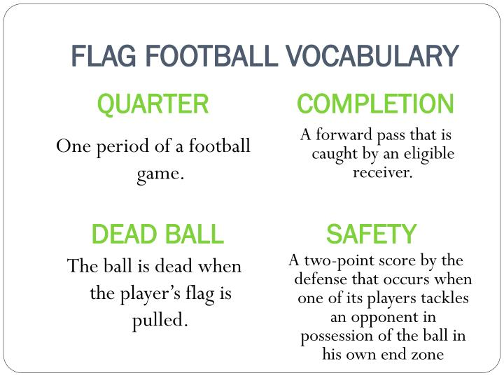 FLAG FOOTBALL VOCABULARY