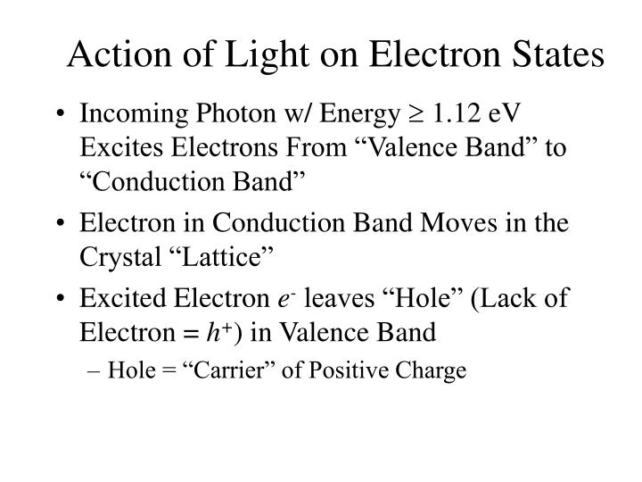 Action of Light on Electron States