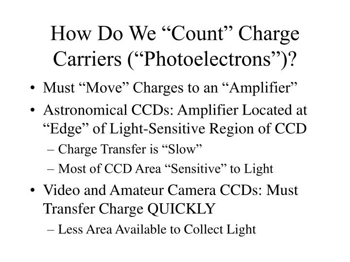 "How Do We ""Count"" Charge Carriers (""Photoelectrons"")?"