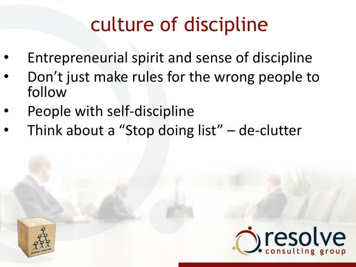 culture of discipline