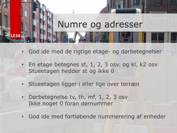 Numre og adresser
