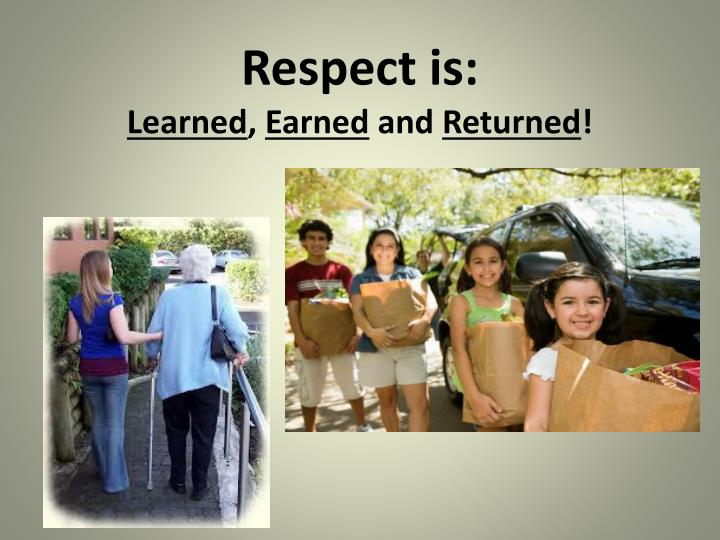Respect is: