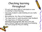 checking learning throughout