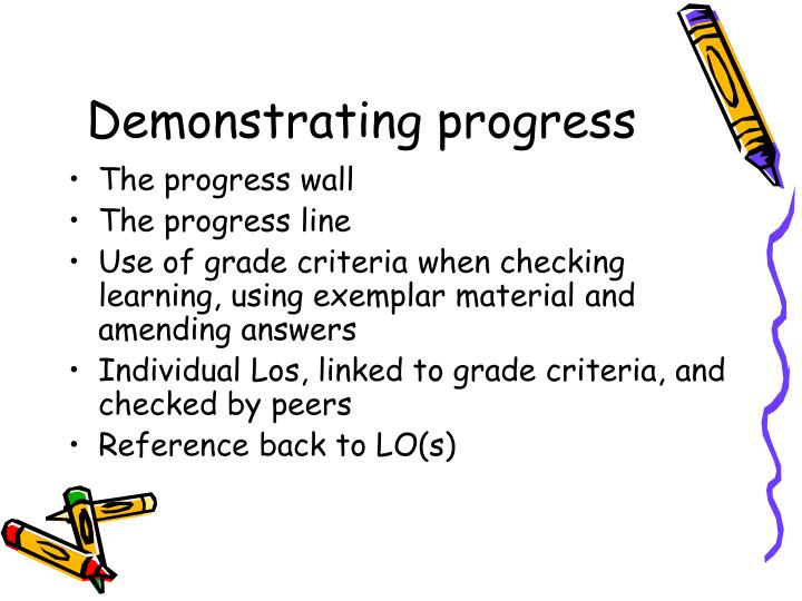 Demonstrating progress