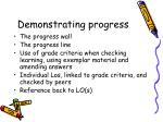 demonstrating progress