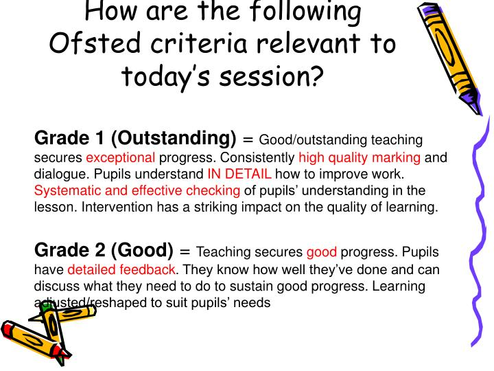 How are the following Ofsted criteria relevant to today's session?