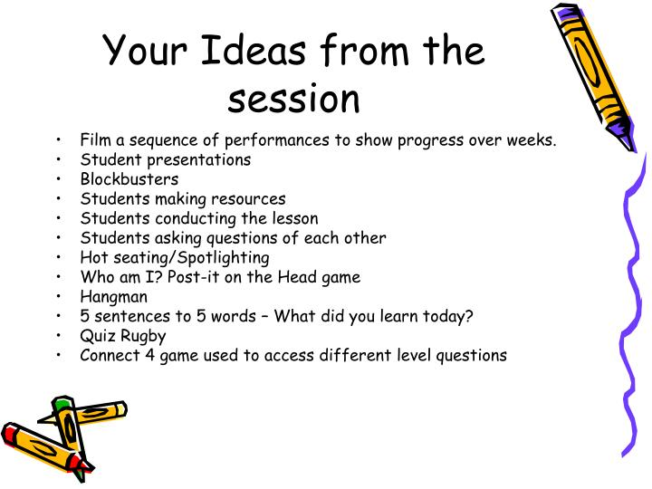 Your Ideas from the session