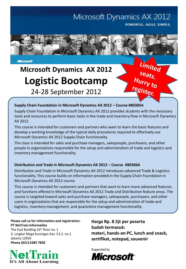 Microsoft dynamics ax 2012 logistic bootcamp 24 28 september 2012
