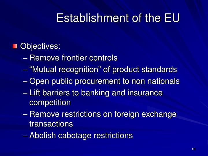 Establishment of the EU