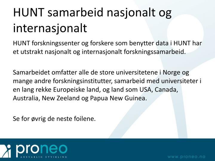HUNT samarbeid nasjonalt og internasjonalt