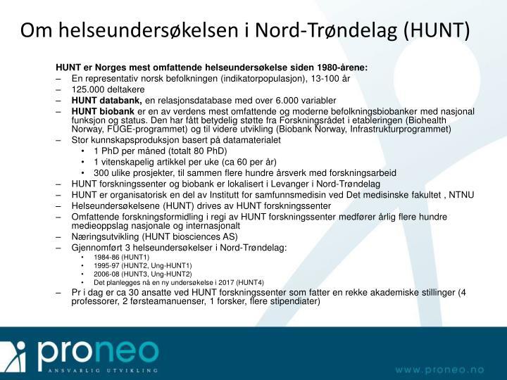 Om helseundersøkelsen i Nord-Trøndelag (HUNT)