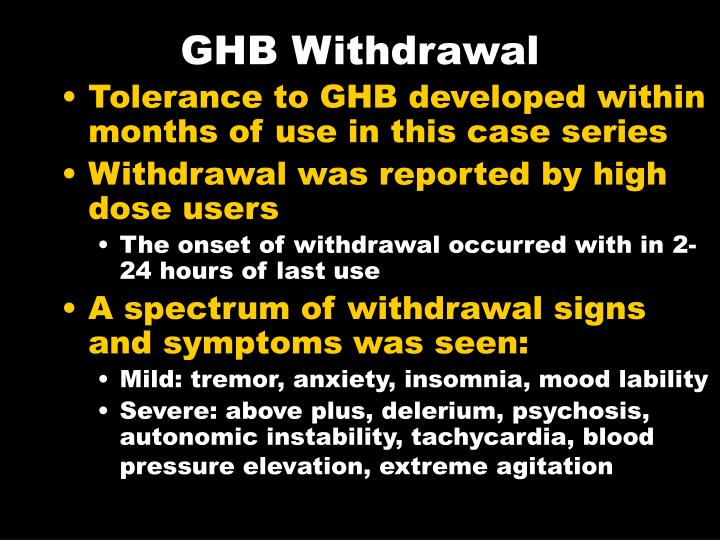 GHB Withdrawal