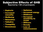 subjective effects of ghb reported by 50 of participants