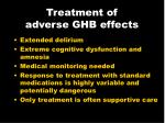treatment of adverse ghb effects