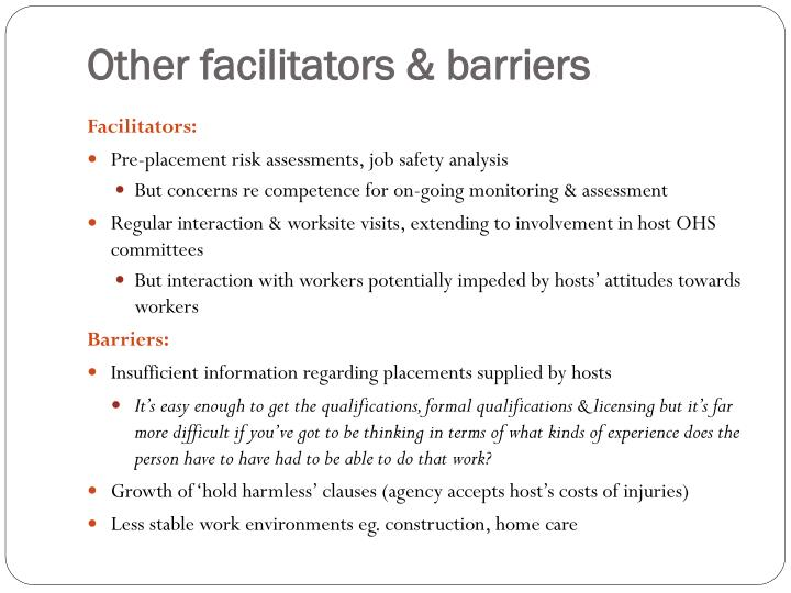 Other facilitators & barriers