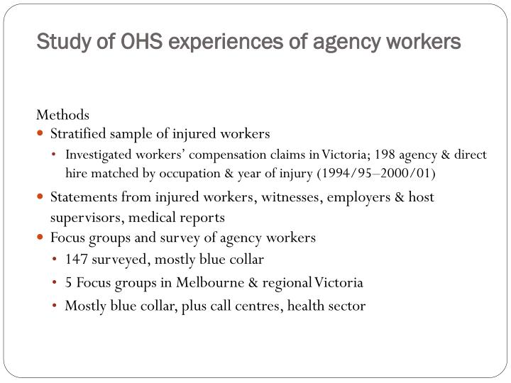 Study of OHS experiences of agency workers