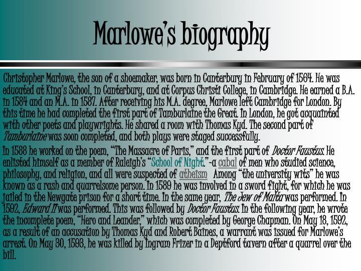 Marlowe's biography