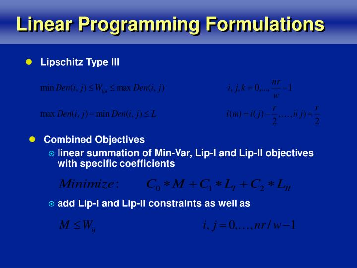 Linear Programming Formulations