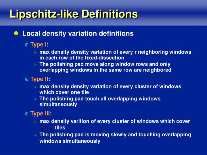 Lipschitz-like Definitions