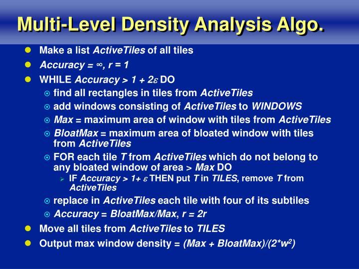 Multi-Level Density Analysis Algo.