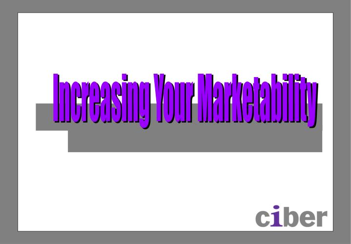 Increasing Your Marketability
