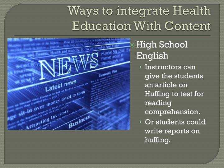 Ways to integrate Health Education With Content