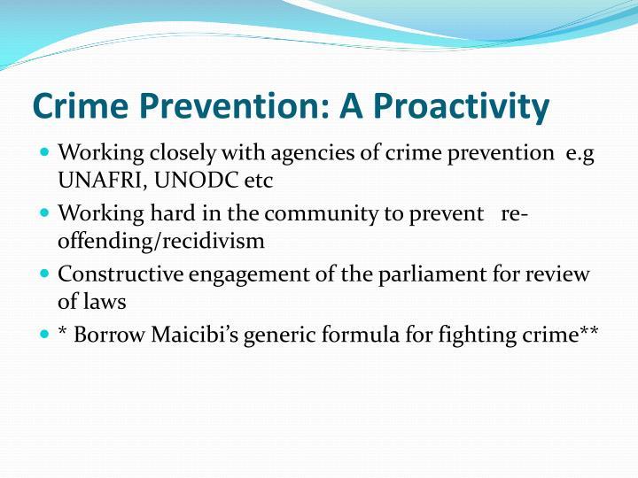 Crime Prevention: A