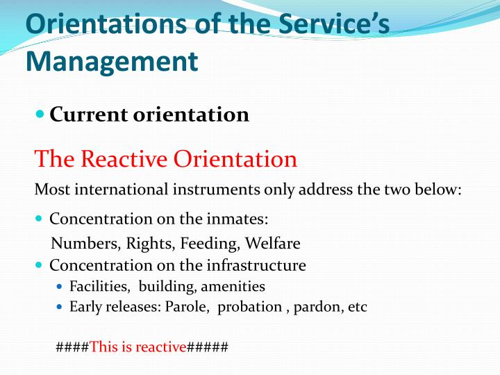 Orientations of the Service's Management