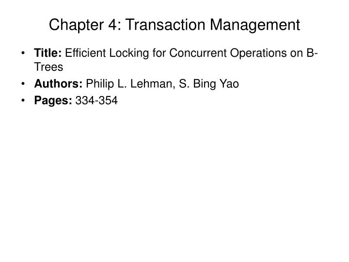 Chapter 4 transaction management